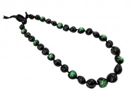 Kukui Nut Lei with Green Hibiscus