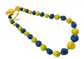 Kukui Nut Necklace - Yellow & Blue