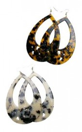 Extra Large Drop Carved Turtle Shell Earrings - 75mm