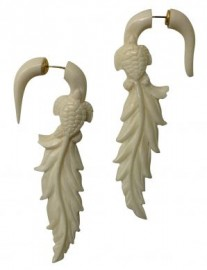 Bone Turtle & Leaf Faux Gauge Earrings