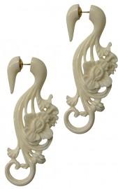 Bone Flower Faux Gauge Earrings