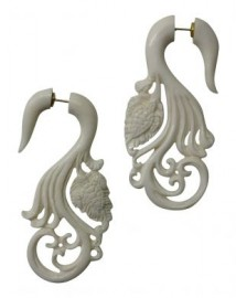 Bone Turtle & Waves Faux Gauge Earrings
