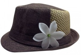 Dark Brown Tribal Fedora - Checkered Pattern