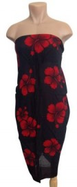 Flower Sarong - Hibiscus/Red