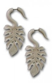 Bone Monstera Leaf Earrings