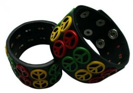 Peace Sign Rasta Wide Leather Bracelet