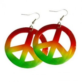 Rasta Colored Shell Peace Earrings