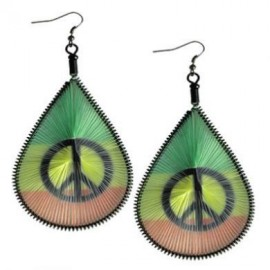 Rasta Dream Catcher with Peace Sign Earrings