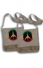 rasta Style Hemp Shoulder Bag - Peace Sign