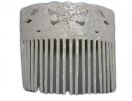 Faux Turtle Shell Hair Comb - White