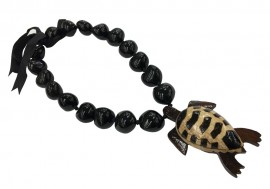 Black Kukui Nut Necklace with Wood Turtle Pendant