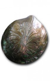 Black Mother of Pearl Shell Carved with Hibiscus
