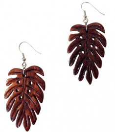 Koa Wood Monstera Earrings